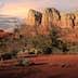 Red sandstone found in Sedona radiates in setting sun.