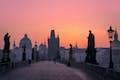 Czech Republic is a historic bridge at sunrise