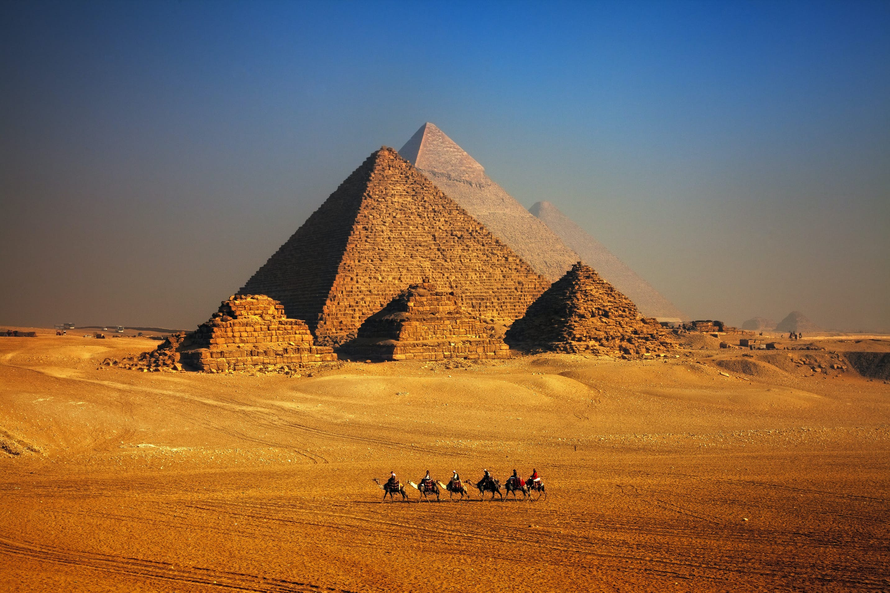 real photography postcard ancient Egypt Pyramid and temple in Cairo Egyptian landscape