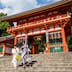 KYOTO, JAPAN - 2016/07/19: Yasaka Shrine or in Japanese Yasaka Jinja was once called Gion Shrine includes several buildings, a main hall and a stage on which kendo and noh performances are held.   The shrine was constructed in the year 656 and was under imperial patronage during the early Heian period.   In the year 869 the mikoshi portable shrines or divine palanquins of Gion Shrine were paraded through Kyoto to help ward off an epidemic  which was the beginning of the Gion Matsuri, an annual festival which has become an intangible UNESCO world heritage artifact. (Photo by John S Lander/LightRocket via Getty Images)