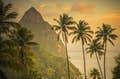 Caribbean is peaks and swaying palms