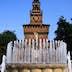 Fountain in front of tower of Castello Sforzesco.