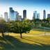 Urban Buffalo Bayou Park offers downtown Houston a green oasis for recreation and beautiful views of the skyline.