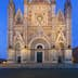 Facade of Orvieto Cathedral at dusk