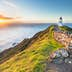 Cape Reinga Lighthouse at sunset.