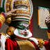 An artist from the Kathakali School Society of Thrissur prepares backstage for his performance in a programme organised by Madhya Pradesh Tribal Museum in Bhopal on June 18, 2018. (Photo by - / AFP)        (Photo credit should read -/AFP/Getty Images)