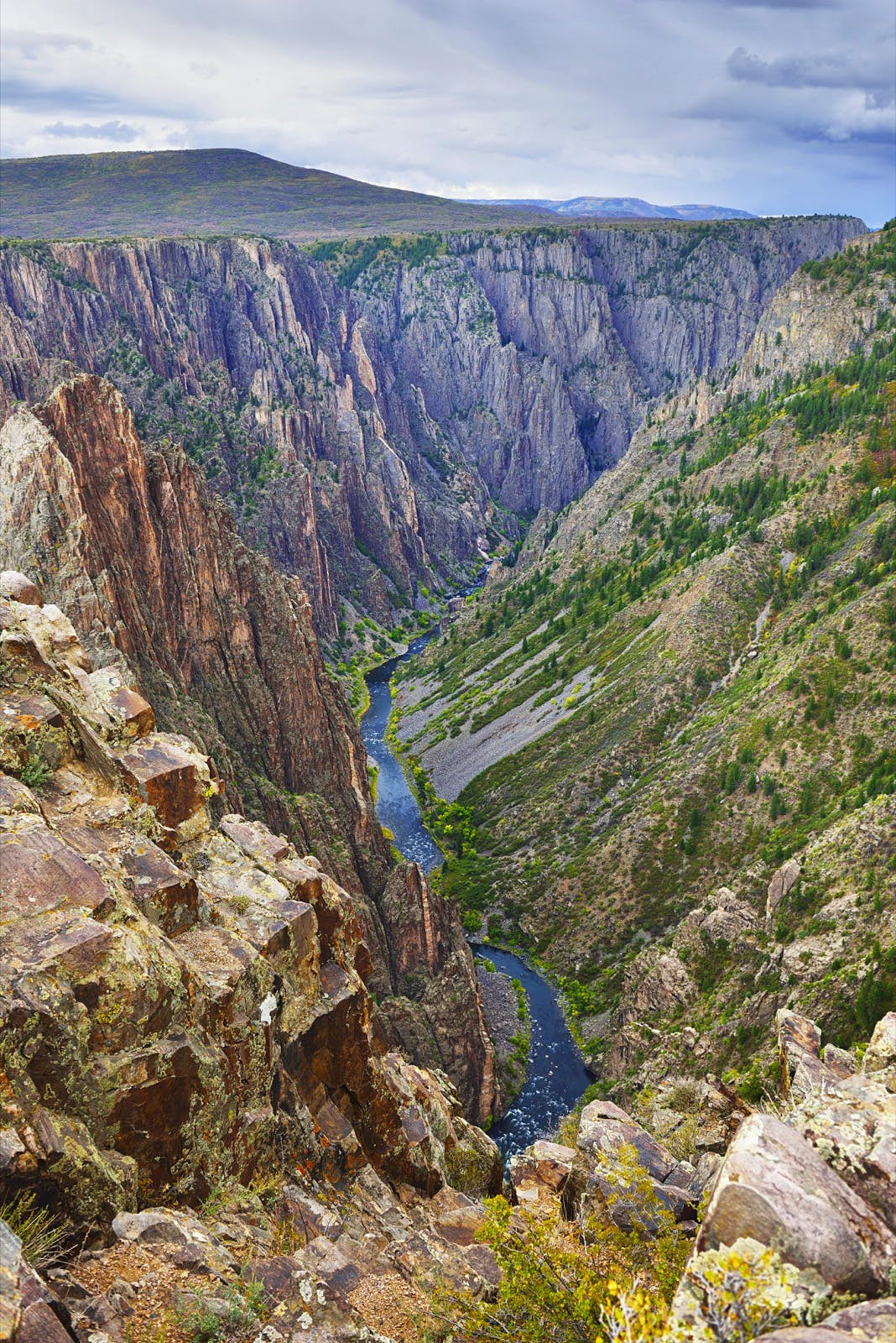 The deep, rocky canyon of the Black Canyon Of The Gunnison National Park in Colorado