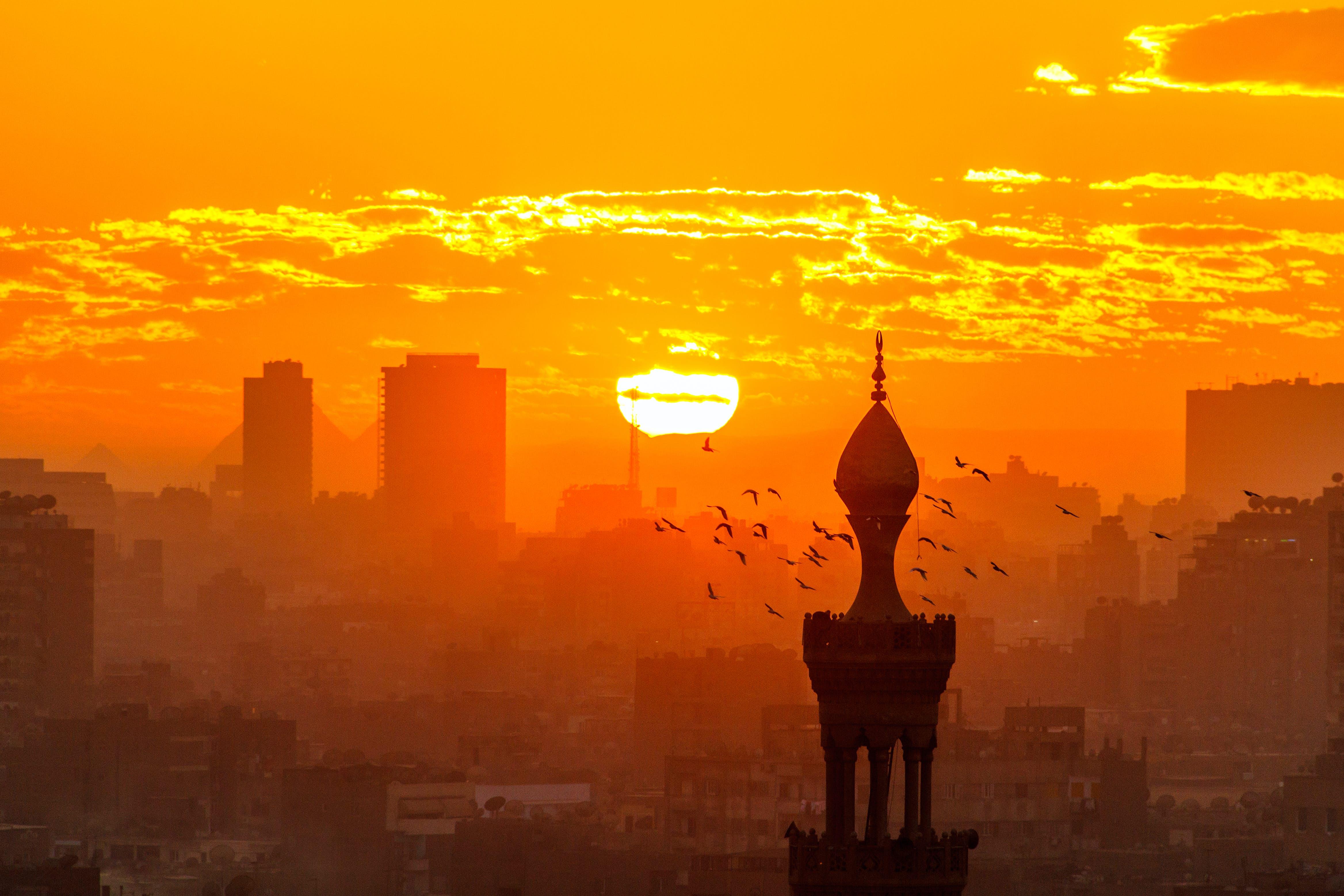 Minaret at sunset from Al Azhar Garden in Cairo, Egypt