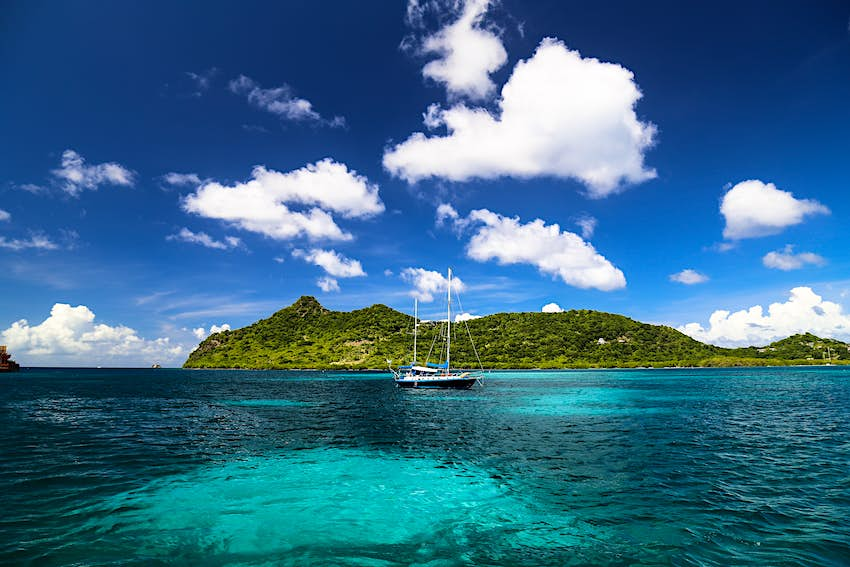 Bright clear waters in Carriacou, Grenada