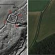 The red arrows show a probable Iron Age or Roman enclosed settlement and and the blue arrows show an associated field system, both hidden beneath woodland and revealed by LiDAR data ©University of Exeter