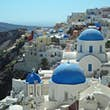 Santorini domes and rooftops.