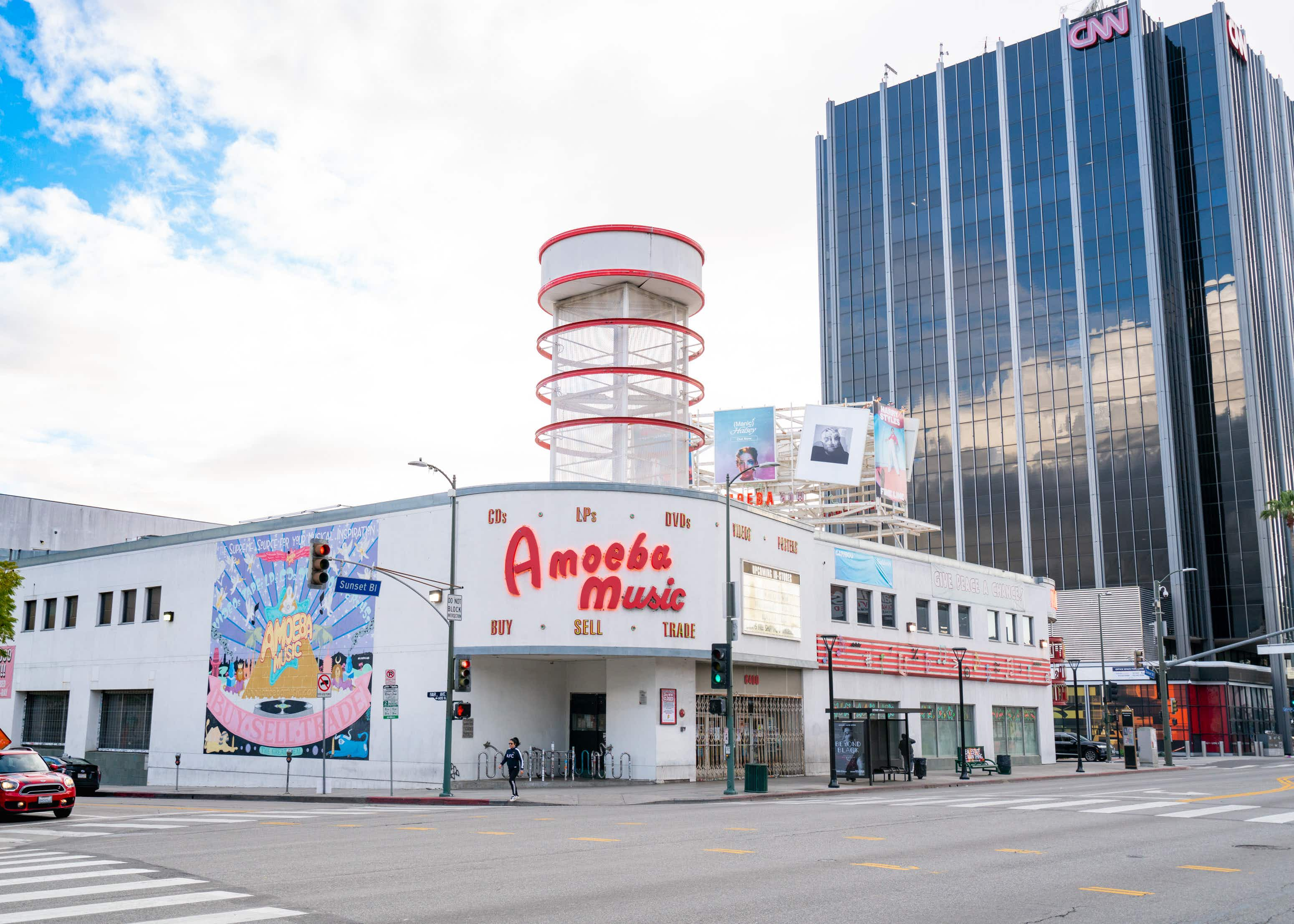 LOS ANGELES, CA - MARCH 19: A general view of Amoeba Music after Los Angeles ordered the closure of all non-essential services and entertainment venues earlier this week and hours before the 'Safer at Home' emergency order was issued by L.A. authorities amid the ongoing threat of the coronavirus outbreak on March 19, 2020 in Los Angeles, California. The World Health Organization declared coronavirus (COVID-19) a global pandemic on March 11th.  (Photo by AaronP/Bauer-Griffin/GC Images)