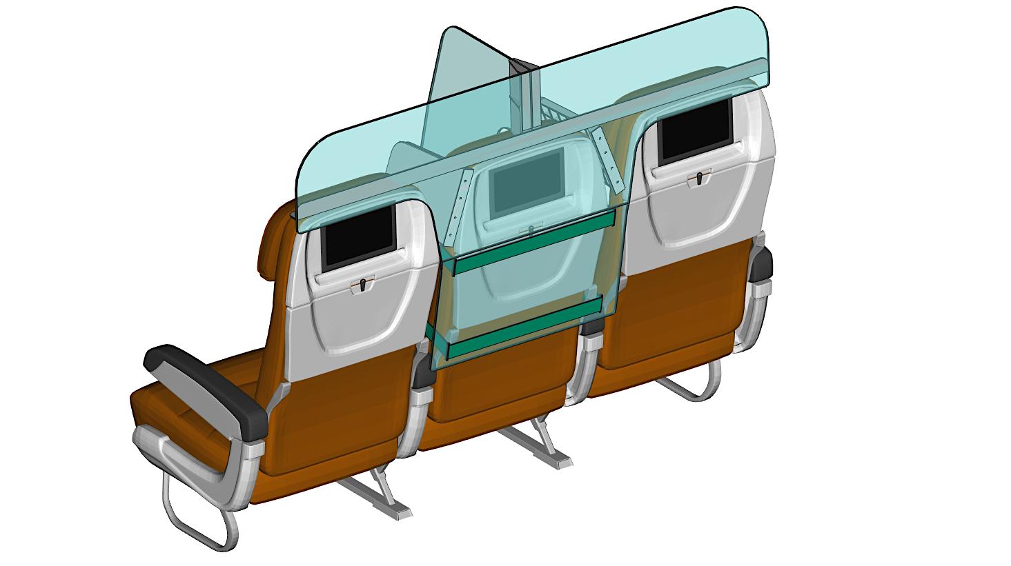 Separador de assento PlanBay visto de trás