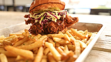 Fried chicken sandwich at Rations