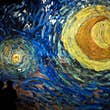 "TOPSHOT - People attend a press visit of the immersive exhibition ""Nuit Etoilée"" devoted to painter Vincent Van Gogh by multimedia artist Gianfranco Iannuzzi, on February 8, 2019, at ""l'Atelier des Lumieres"", the first Digital Art Centre in Paris. - The A"