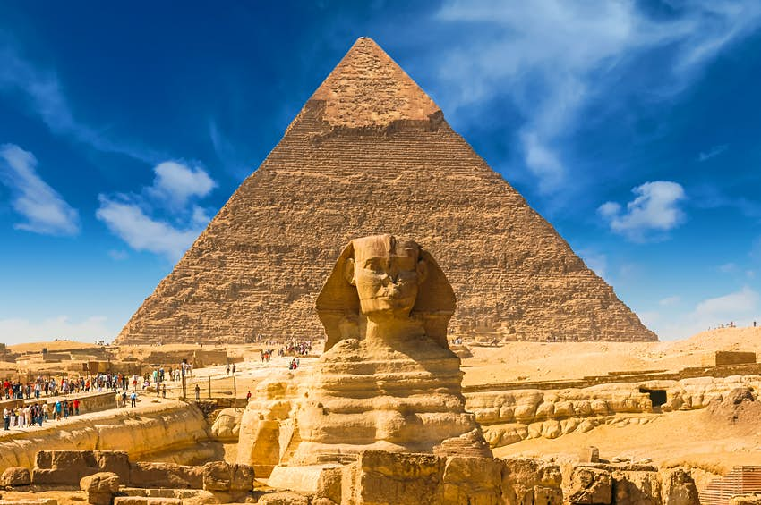 Great Sphinx of Giza with the Great Pyramid of Giza