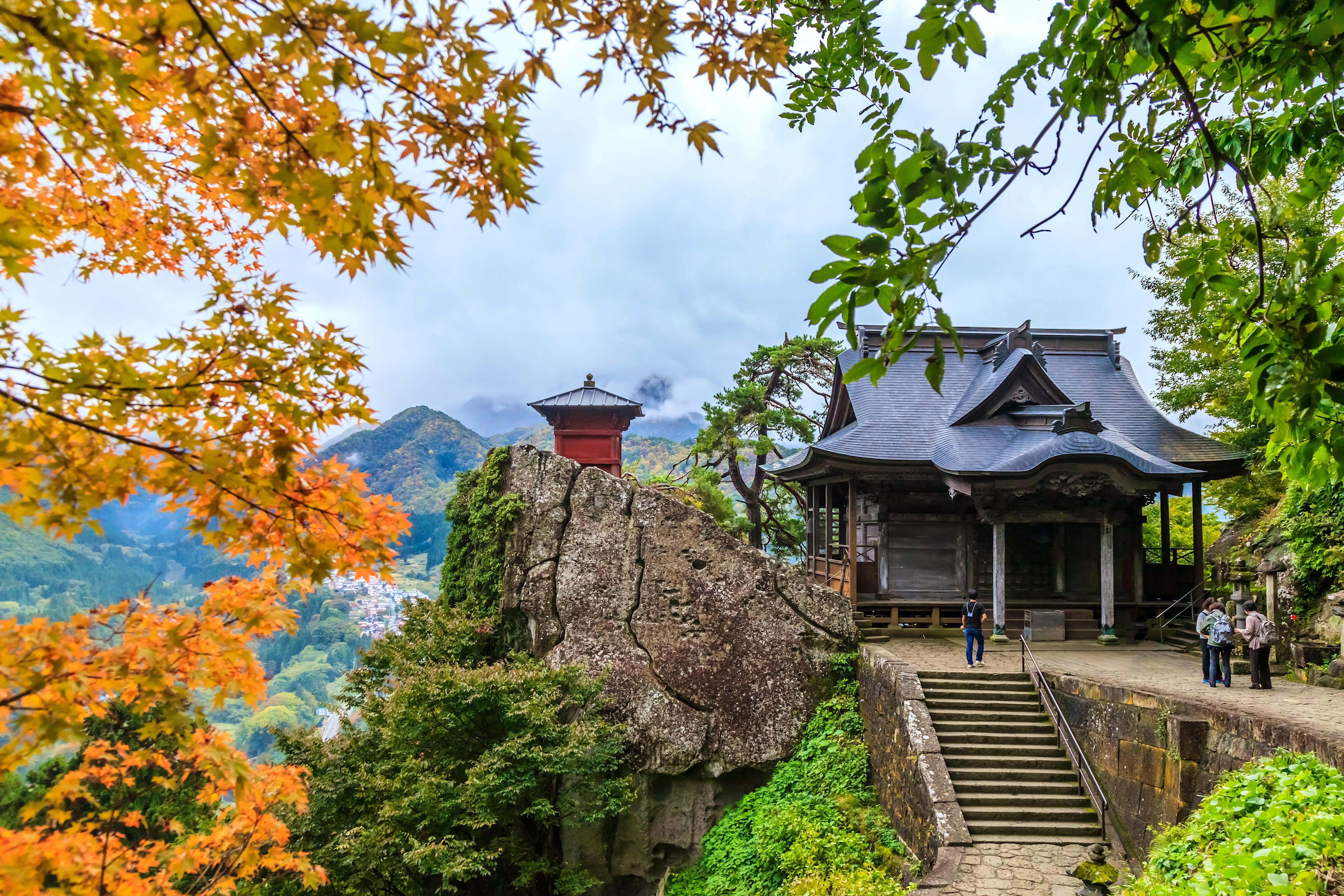 Exterior of Yamadera Temple during autumn