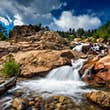 Long exposure of a waterfall in the Rocky Mountains National Park.