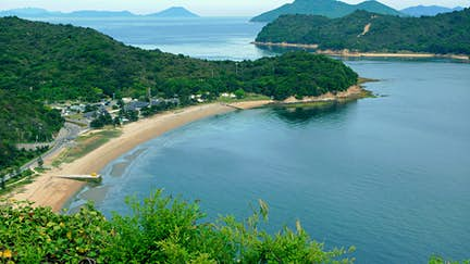 The coast of Naoshima Island, as seen from the Benesse Art Site.