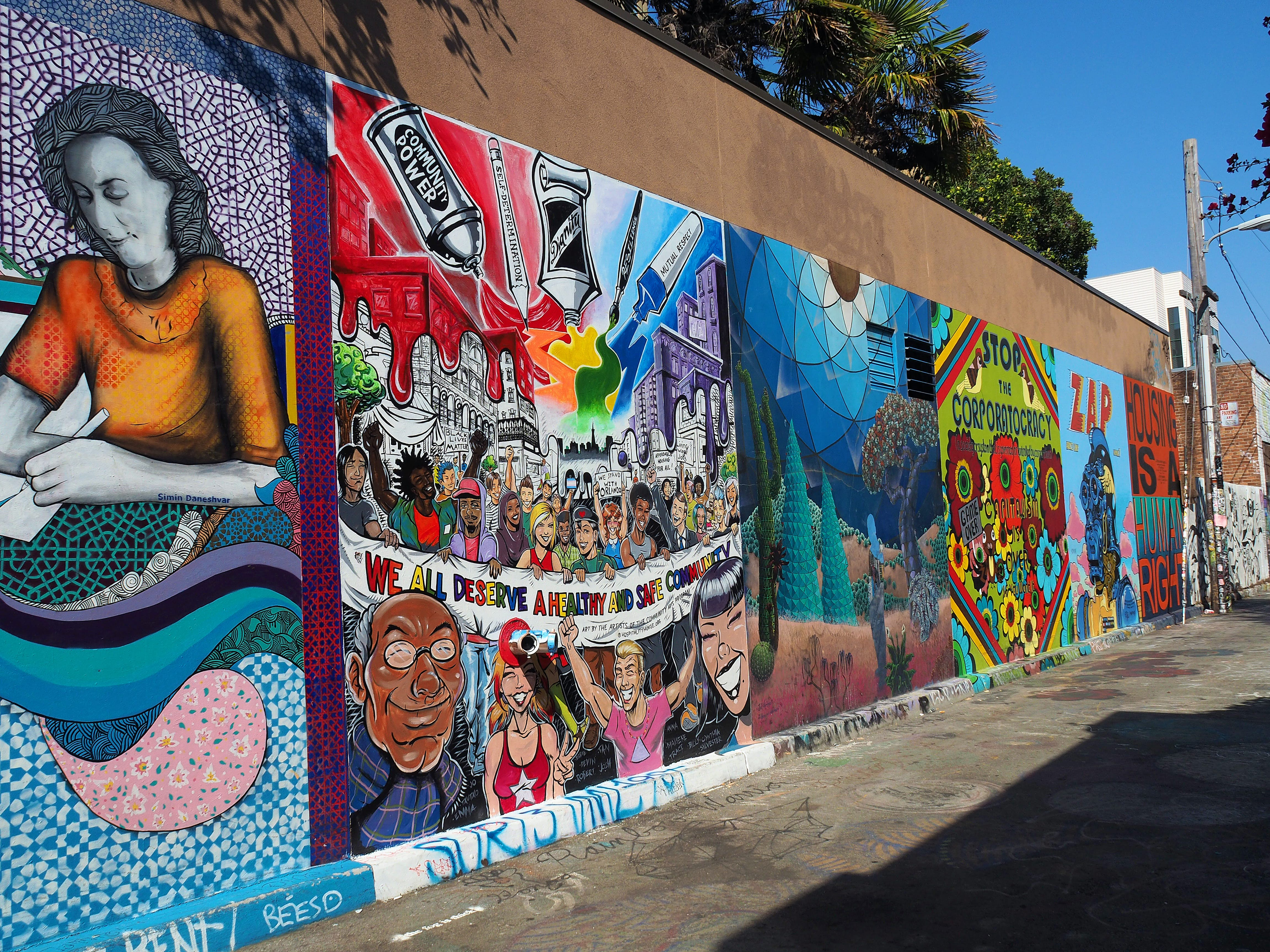 Colorful Murals in Clarion Alley, Mission District, San Francisco, California