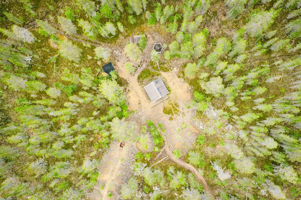 Overhead of wilderness hut.