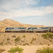 Amtrak train in the New Mexico desert.