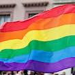 Rainbow flag at gay Pride Parade.