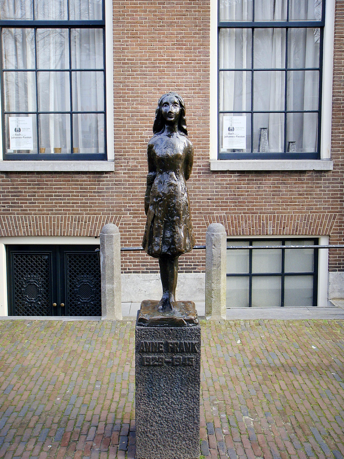 Amsterdam, Netherlands - April 5, 2010. The Anne Frank memorial statue in Amsterdam.