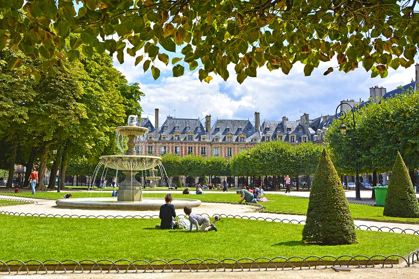 Place des Vosges, the old square in Paris, France