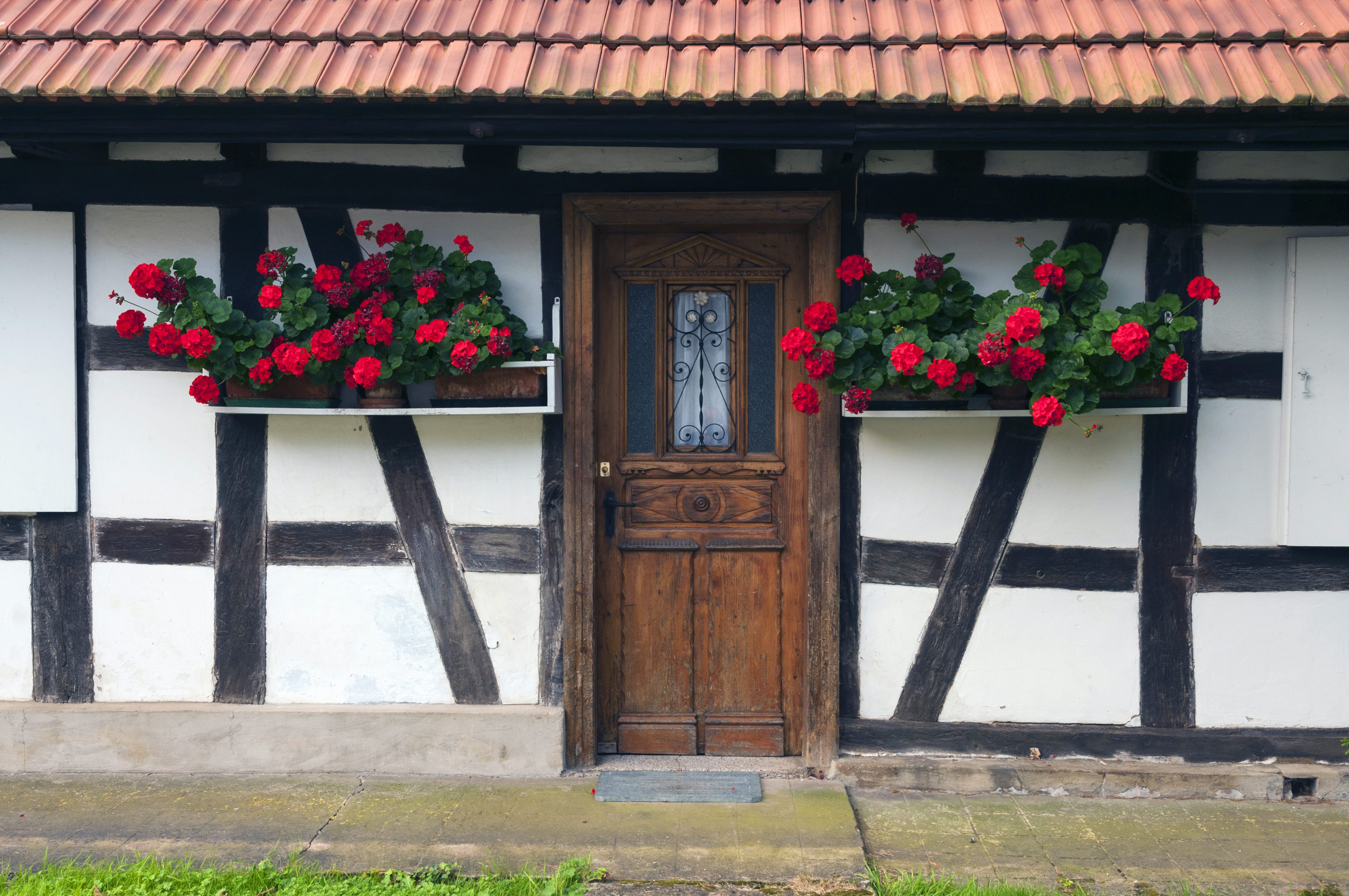 Half-timbered house with flower box windows