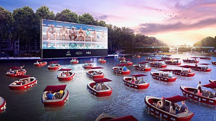 Paris' new floating movie theater with socially-distanced boats is making waves