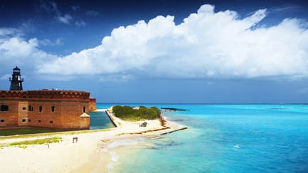 Overview of Fort Jefferson and moat in Garden Key.