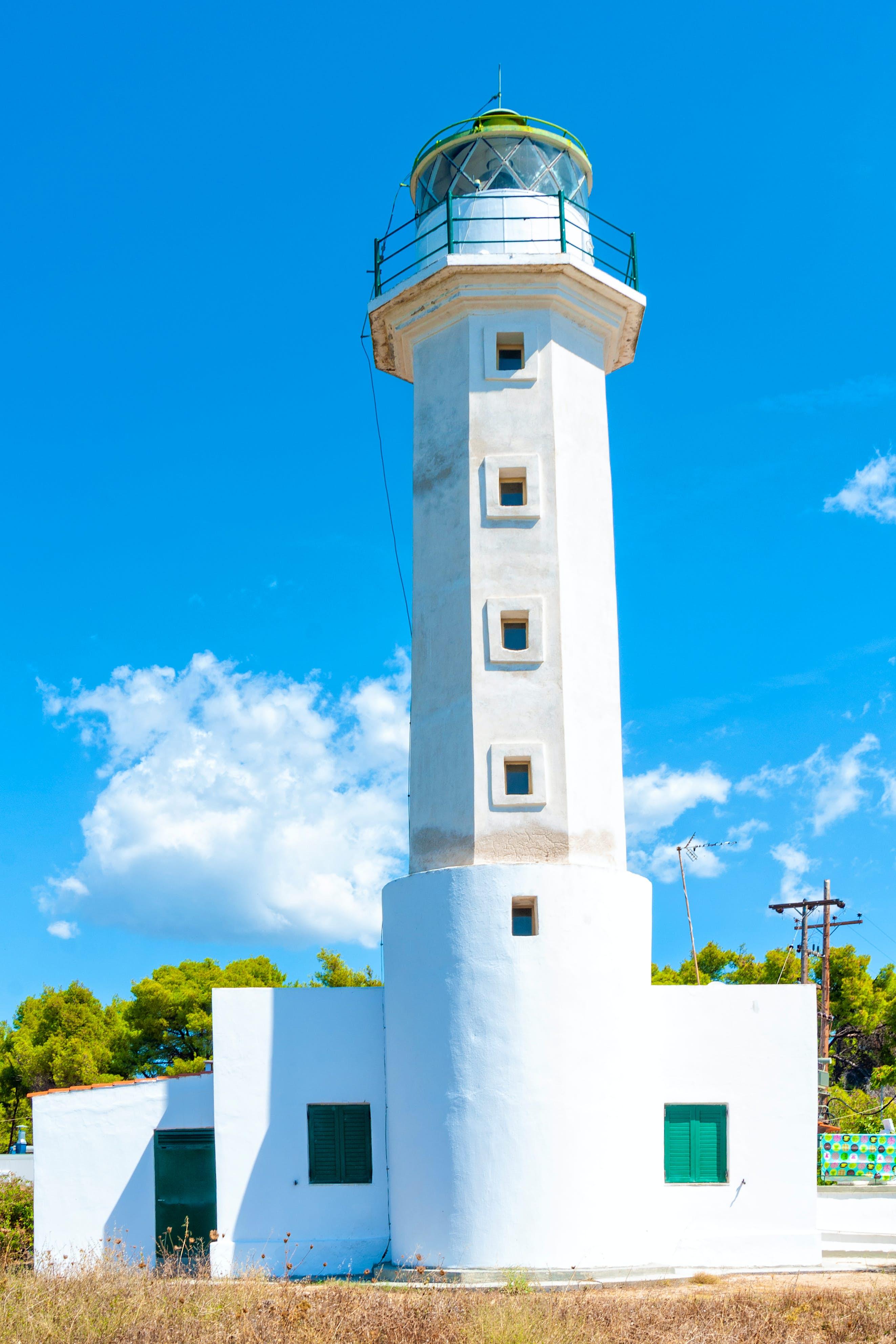 White Possidi lighthouse near Possidi cape in Greece
