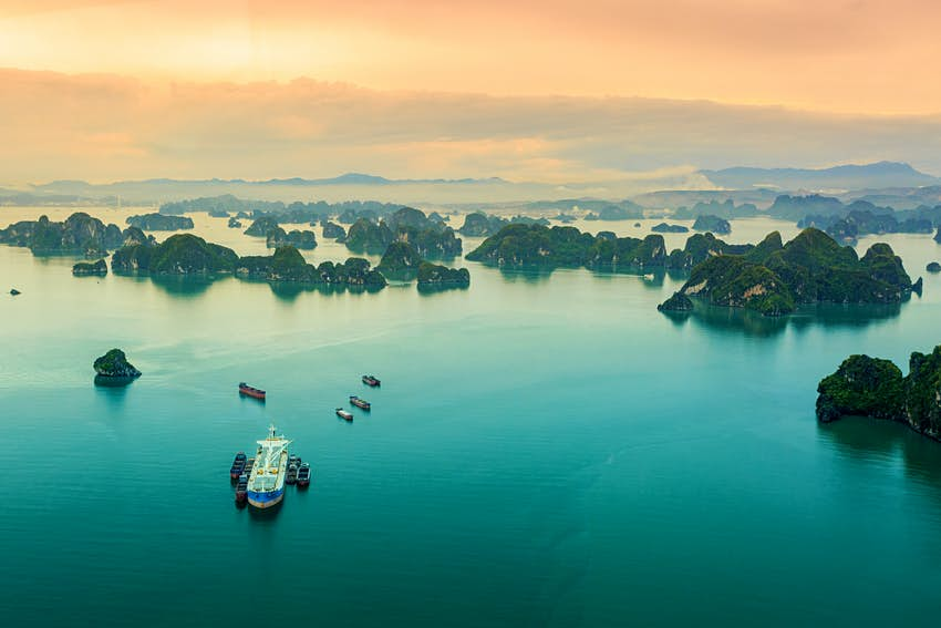 Aerial of the Halong bay islands at sunset.