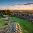 Hadrian's Wall near sunset at Walltown / Hadrian's Wall is a World Heritage Site in the beautiful Northumberland National Park. Popular with walkers along the Hadrian's Wall Path and Pennine Way