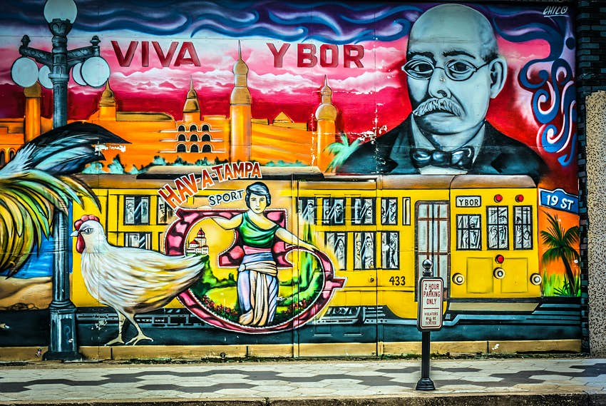 Street art, murals & Graphics in Ybor City, FL, the former Cigar Capital of the world settled by Cuban & Spanish immigrants