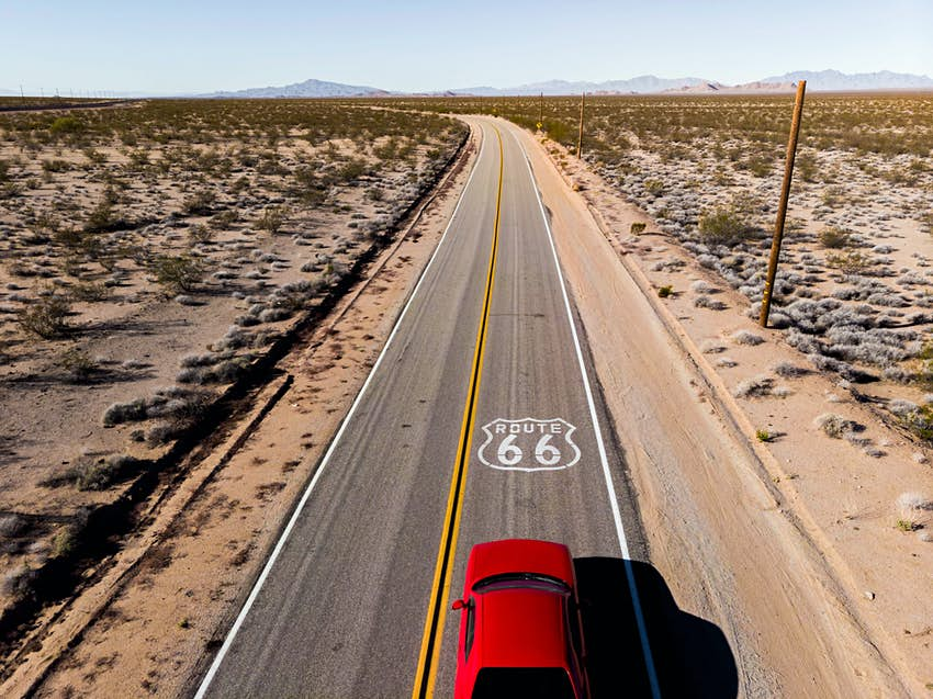 Aerial view of car driving in on Route 66, USA
