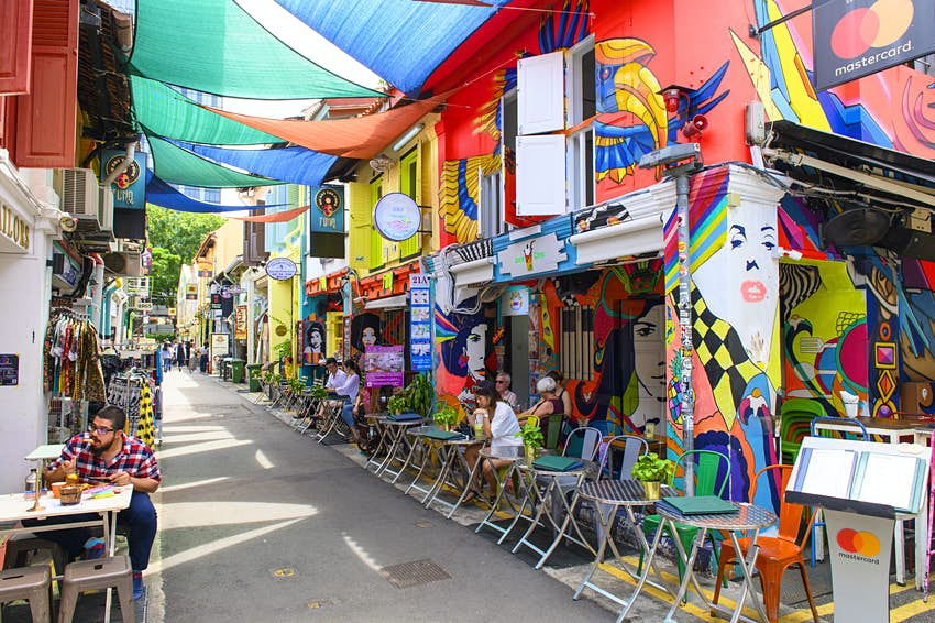 Haji Lane is the Kampong Glam quarter famous for its cafes, restaurants and shops