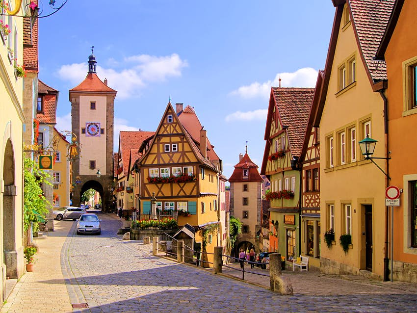 Street view of houses in Rothenburg ob der Tauber, Germany