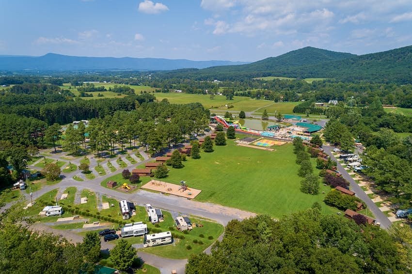 An aerial view of Yogi Bear's Jellystone Park Camp-Resort in Luray, Virginia