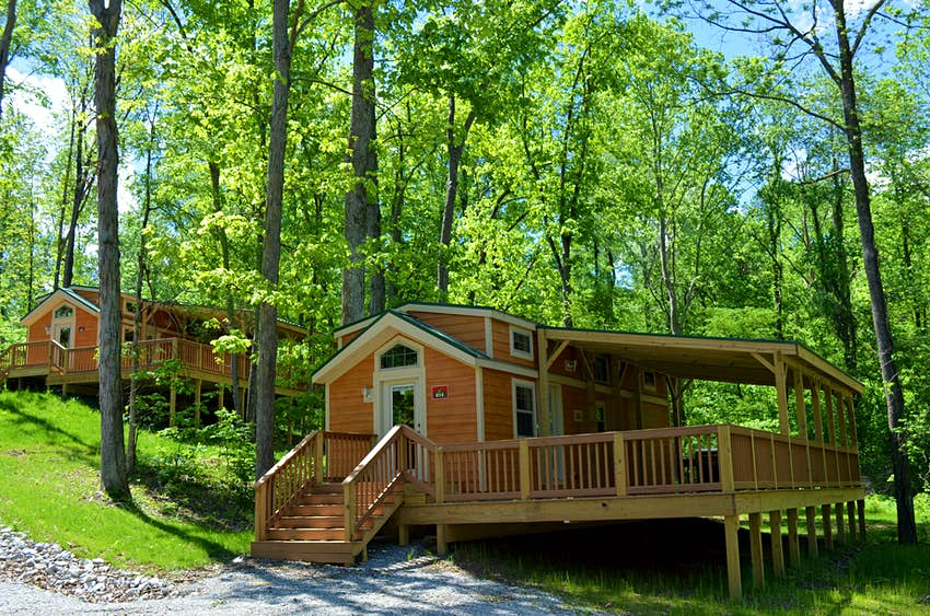 Cabins among trees at Lake Rudolph Campground, Indiana