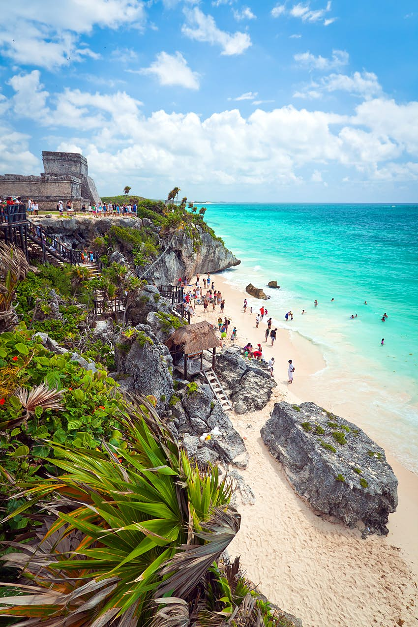 A Maya temple overlooking the beach at Tulum