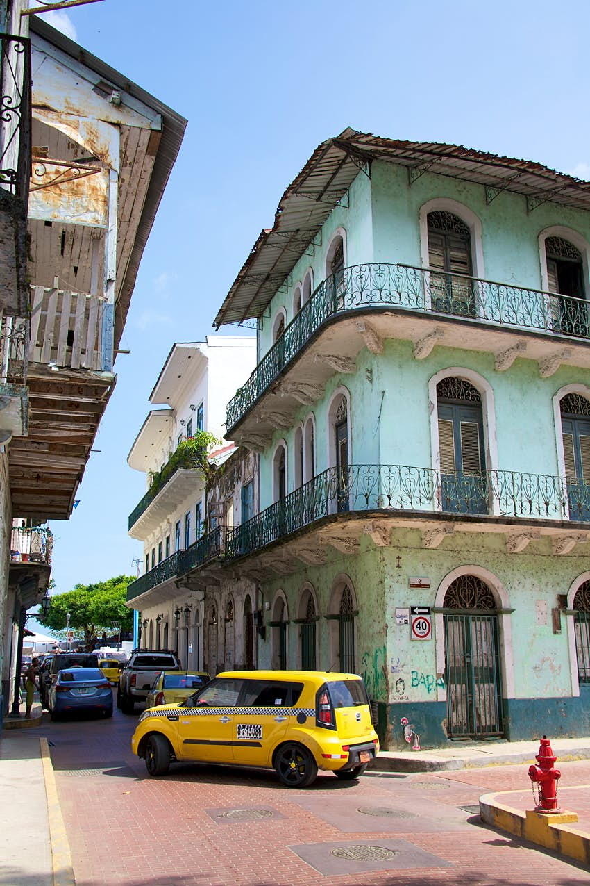 The narrow streets of Casco Viejo, the historic district of Panama City Panama