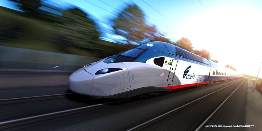 Closeup of Amtrak's Acela high-speed train on the track