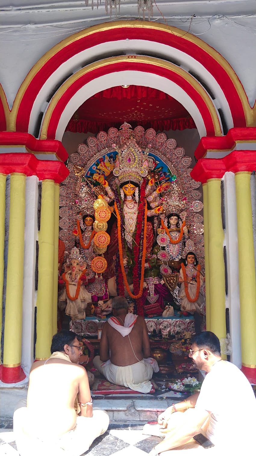 The typical idol at Thakur Dalan — a platform made especially for the purpose in all aristocratic homes who did pujo..JPG