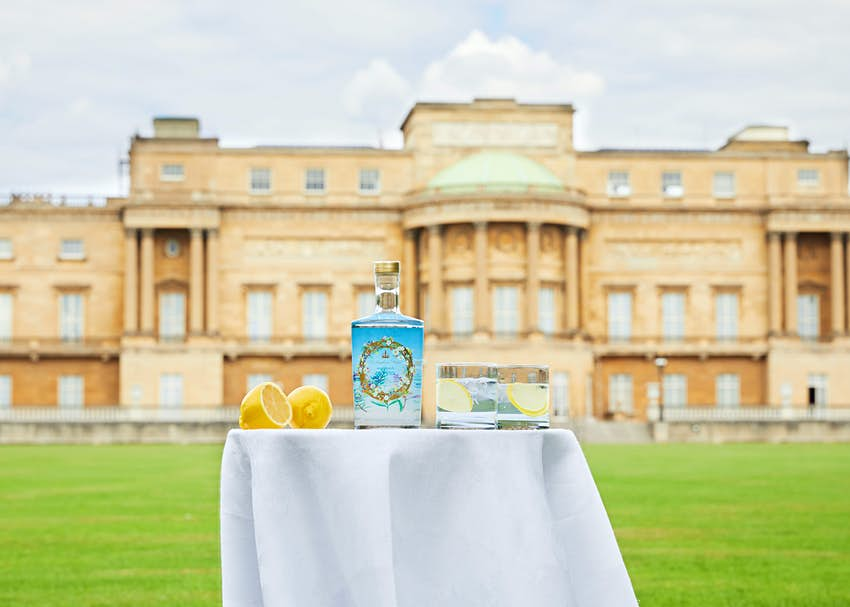 Buckingham Palace gin pictured in Buckingham Palace garden.<br/>.<br/>Credit: Royal Collection Trust/ c Her Majesty Queen Elizabeth II 2020. .<br/>.<br/>For single use only in relation to Buckingham Palace gin sold by Royal Collection Trust. Not to be archived or sold on..<br/>