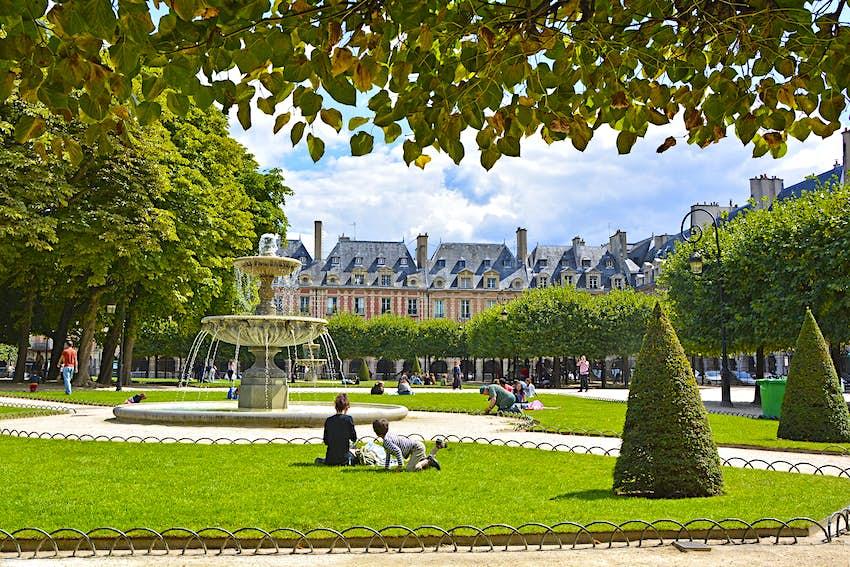 Place des Vosges, the old square in Paris, France