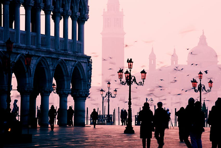 Piazza San Marco at sunrise in Venice, Italy.
