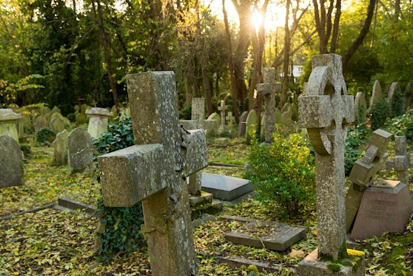 Highgate Cemetery in London, England.