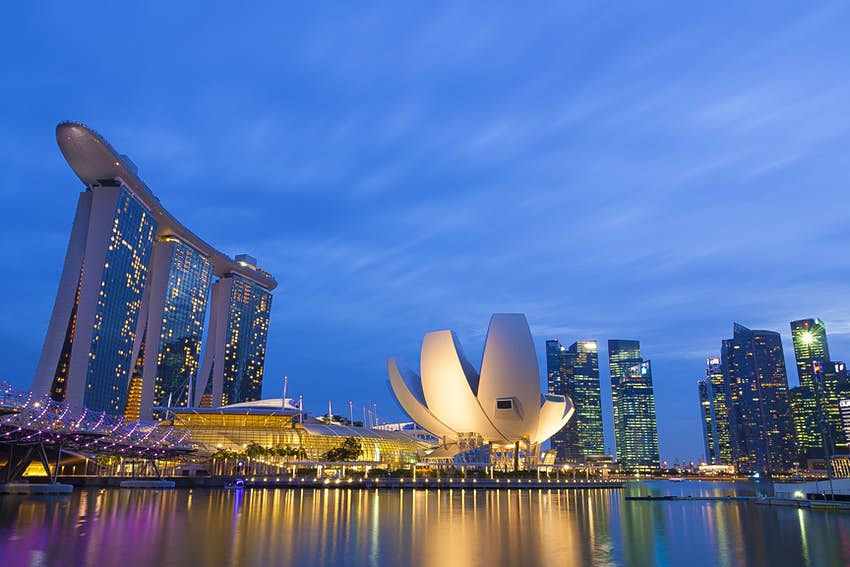 Nighttime view of Singapore skyline